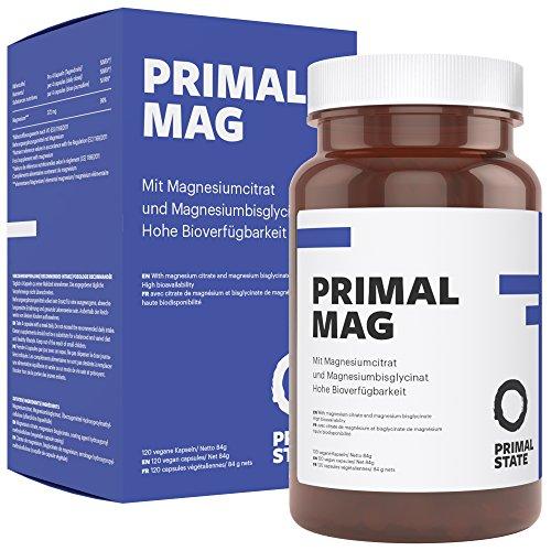 Magnesium hochdosierte Kapseln | PRIMAL MAG | Magnesiumcitrat und Magnesium Glycinat Tabletten| Frei von Zusatzstoffen wie Magnesiumstearat oder Gelatine | Laborgeprüft | - 120 Kapseln - Magnesium-120 Tabletten