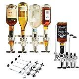 Y Dispenser bevande porta bottiglie per Bar e Casa, 4 Stazioni Affiancate,per il montaggio a parete,telaio in Alluminio, base tonda,Bar Butler 6 Shot Dispenser (4 bottiglie)