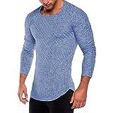 UJUNAOR Mode Herren Slim Fit O Hals Lange Ärmel Muskel T-Shirt Lässige Tops Bluse(S,Blau)