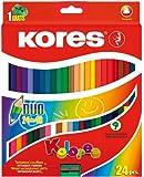 Kores Kolores Duo Coloured Pencils, Double, Triang., 24 Pencils / 48 Colours