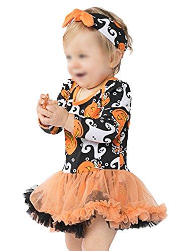 Scothen Neugeborenes Baby Mädchen Bekleidungsset Outfits Kürbis Halloween Kostüm Kurzarm Strampler Overall mit Tütü Röckchen + Stirnband bequeme Strampler Bodys Saison (Mit Pfau Tutu Kostüm)