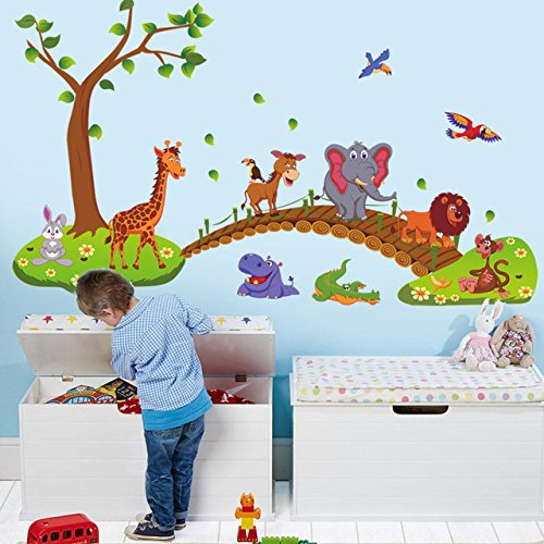 Jaamso Royals ' Hot Style Big Jungle Animals Bridge ' Wall Sticker (PVC Vinyl, 90 cm X 60 cm, Children's Room Decor Stickers)