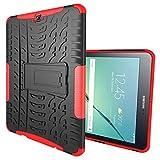 DBIT Galaxy Tab S2 9.7 hülle, Schlank Zerklüftet Langlebig PC Hülle Handy-Gehäuse Tasche TPU Schutzhülle mit Ständer Für Samsung Galaxy Tab S2 9.7 T810N T815N,Rot