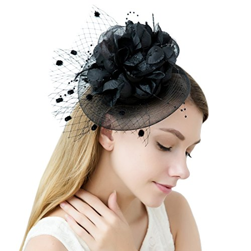 JaosWish Tulle Feather Fascinator Stirnband Netz Blume Haarclip für Cocktail Party Royal Ascot Hochzeit Hut Schwarz