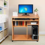 Yaheetech Movable Computer/Writing Desk with Sliding Keyboard,Storage Shelves,Wheels for Small Spaces(Beech Wood)