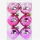 artistic9(TM) 6Weihnachtsbaum Ornament Xmas Kugeln Weihnachtskugeln Party Hochzeit Dekorationen, PVC, hot pink, 6cm