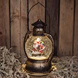 The Good Life Beleuchtete Weihnachtslaterne Geformte Schneekugel Wasserball Weihnachtsmann Hinunter den Kamin 18cm - Glitter Schnee