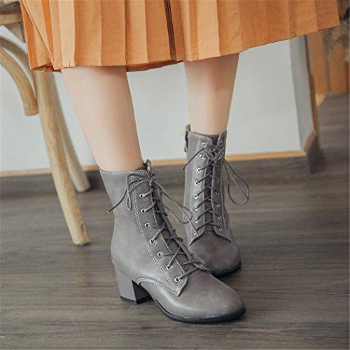 Zq @ Qx En Automne Et En Hiver Avec Une Tête Circulaire Épaisse Et Avec Des Étudiants, Heureusement Bottes Martin Boots Femme Gris