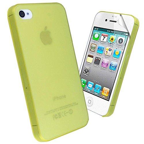 EASYPLACE - Cover Case Brinata - Ultra Sottile Slim 0,3mm - GIALLO SATINATO - Apple iPhone 4/4S - Resistente Protettiva