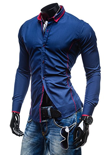 BY MIRZAD - Chemise casual – BY MIRZAD 4720 - Homme Bleu foncé