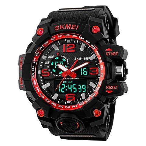 VOEONS Herren Sport Armbanduhr Resin Analog Digital Quarz Kalender Alarm Chronograph 5ATM Wasserdicht Outdoor Herrenuhr Blau| Rot| Gelb| Weiß (Sportuhr Herren Blau)