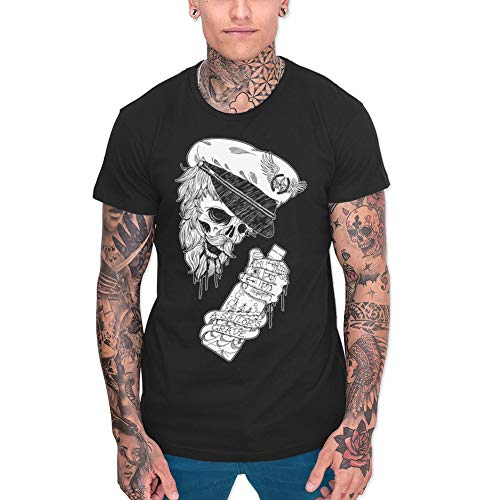 VIENTO Drunk Skull Herren T-Shirt (XL, Schwarz)