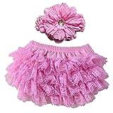hrph Pantalones cortos para bebé lindo de la niña de Nueva Bloomers de la venda cubierta del pañal Conjunto recién nacido de la colmena de las bragas del cordón