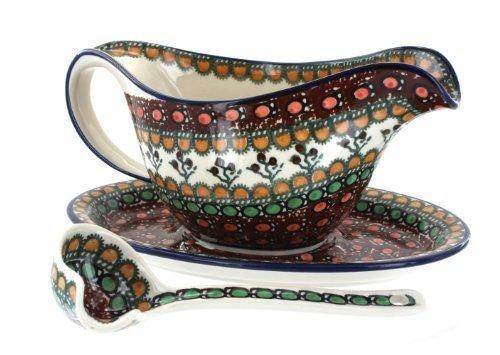 Polish Pottery Golden Pastures Gravy Boat, Plate, & Ladle by Blue Rose Pottery Rose Gravy Ladle