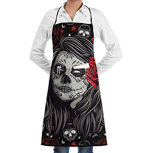 HiExotic Eco-Friendly Sugar Rose Skull Apron with Pockets Locked for Cooking Baking Crafting Gardening BBQ (20.5 X 28.3 Inches)