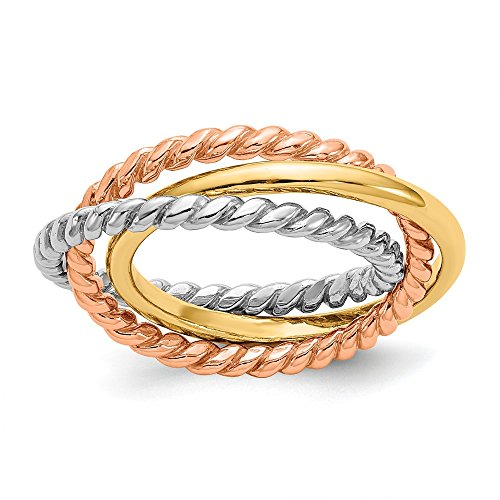 Solid 14 K gold Tri-color rope polished 3-wedding band ring interlaced