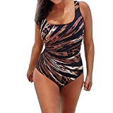 OverDose Damen Ein Stück Schwimmen Kostüm Padded Badeanzug Bademode Push Up Bikini Sets Overalls(A-Multicolor ,3XL)