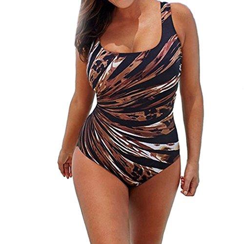 OverDose Damen Ein Stück Schwimmen Kostüm Padded Badeanzug Bademode Push Up Bikini Sets Overalls(A-Multicolor ,3XL) (Ein Alle Stück Badeanzüge)