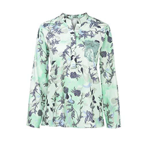 COCODE Damen Lose V-Ausschnitt Blumendruck Langarm Bluse Pullover Tops ShirtDamen Print Langarmshirt Weste (Kanye West Tank Top)