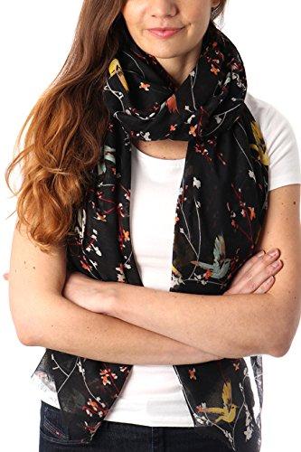 Style Slice Schal Damen Sommer Blumenmuster - Tuch Damen Frühling - Halstuch - Tücher Schals XXL - Accessoires - Blau Grün Rosa Türkis Gelb - Chiffon - Geschenk für Frauen (Schwarz/Vogelmuster)
