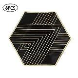 Piastre Piastre 8pcs monouso di Carta Bronzing di Carta Gold Party monouso da tavola di Laurea di Compleanno Nero Partito da tavola 8in
