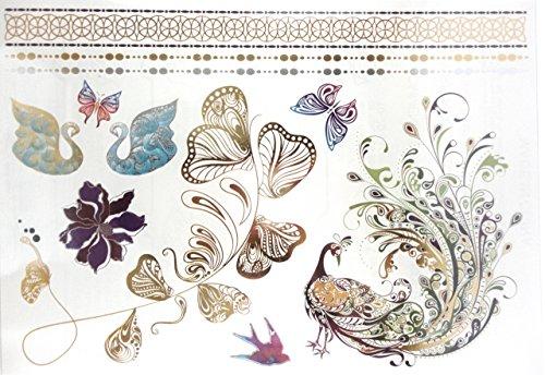 Magnifiques Tatouages Temporaire signe papillons paon, fleurs, oiseau, Tatouages éphemères couleurs et doré PROMO TATOUAGES (si vous désirez achetez plusieurs planches : 2 achetées au choix = 2 gratuites en plus au choix. 3 achetées au choix = 3 gratuites en plus au choix. 4 achetés au choix = 4 gratuites en plus au choix. 5 achetés au choix = 5 gratuites en plus au choix). TATOUAGES METALLIQUES TEMPORAIRES DOREE ET ARGENTEE NON TOXIQUE. Waterproof.
