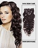 Romantic Angels® 24''(60cm) Remy Clip In Extensions Echthaar Gewellte Haarverlängerung 8 Teilig 120g Dunkelbraun#2