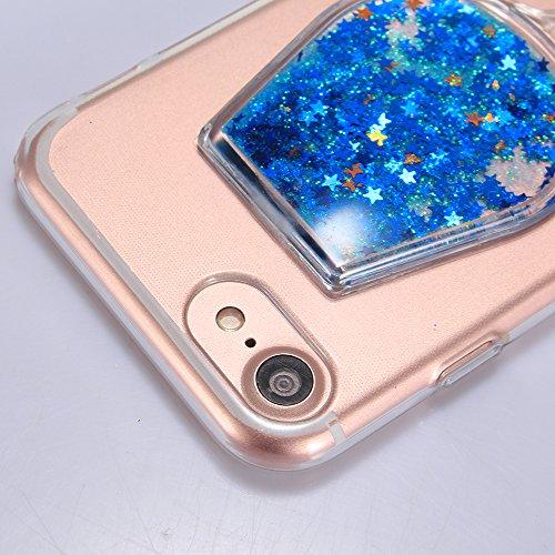"""iPhone 7Plus Handyhülle, iPhone 7Plus Liquid TPU Case, CLTPY Kreativ 3D Fließen Flüssig Bling Schwimmend Treibsand Herz, Glanz Shiny Kristallklar Schale Etui für 5.5"""" Apple iPhone 7Plus (Nicht iPhone  Blauer Stern"""