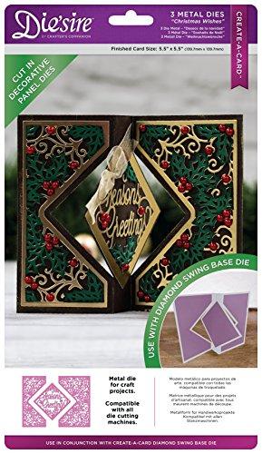 Die'sire schaffen eine Karte Weihnachten Wishes Deko Panel, silber, 3Stück