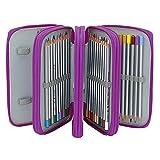 Durchsichtige Reißverschlusstasche, 72 farbige Steckplätze, Aufbewahrungstasche 4-lagig große Kapazität Tasche für Jungen Mädchen Schüler Schule Büro Kunst Handwerk Farbstift Violett 2