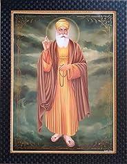 Shree Handicraft Guru Nanak Dev Ji/Gurunanak Sikh Religious Framed Painting Photo Frames (34.5 cm x 44.5 cm x