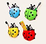 Bestga Cute Cartoon Ladybug Kids Wall Suction Cup Mount Toothbrush Holder Pencil and Pen Container Box Travel Organizer Plastic Pocket Storage Organizer - Red