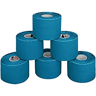 BB Sport 6 Rolls Kinesiology Tape 5 m x 5 cm in 11 different colours, Colour:light blue