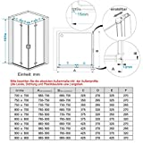 90 x 90 x 195 cm Duschkabine Eckeinstieg Dusche Falttür 180º Duschwand Duschabtrennung NANO Glas - 2