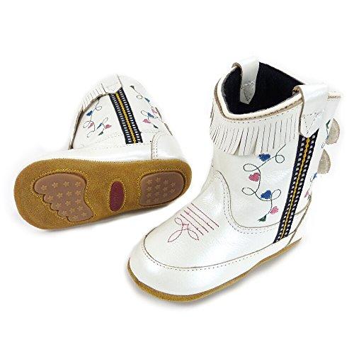 Westernwear-Shop Baby Leder-Cowboystiefel Westernstiefel Girl weiß Baby-Westernstiefel Kinder-Westernstiefel Cowboy Boots für Mädchen (4) Weiß -