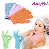 #4: AAIFFEL Exfoliating Bath Shower Gloves Scrubber,Shower Sponge Mesh Pouf Cleansing Body Removes Dead Skin,2 pairs