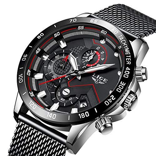 Uhren Herren Edelstahl Mesh Band Chronograph Quarz Uhr Schwarz Männer Datum Kalender Wasserdicht Multifunktions Armbanduhr Weiß (Schöne Uhr)