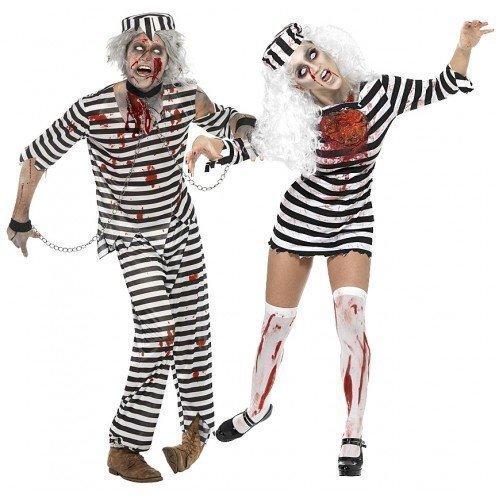 are & Zombie-Kostüm Sträfling Prison Häftling Kostüm Halloween Kostüm Outfit (Halloween Kostüme Paare Uk)