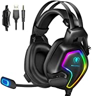 Cuffie Gaming per PS4 PS5 Xbox One Stereo Audio Surround 3D Bass Cuffie con Microfono Cancellazione del Rumore