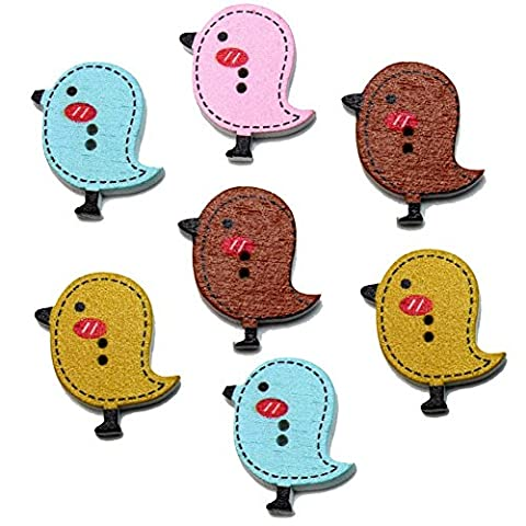 Suboer 50pcs Chick Shaped Painted 2 Hole Wooden Buttons for Crafting & Sewing