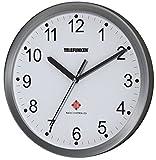 Telefunken FWU-25-B Funk-Wanduhr Funkuhr mit autom. Zeitumstellung Alu Rahmen 25cm Ø schlicht (Weißes Ziffernblatt)