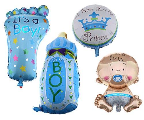 Preisvergleich Produktbild 4er Folienballon Boy Junge Set Baby Party Geburt Fuß Flasche Luftballons