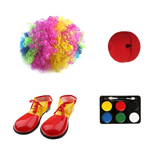 Gazechimp Clown Jester Joker Kostüm Perücke Red Nose Schuhe 6 Farben Gesicht Make-up (Jester Halloween Make Up Kostüm)