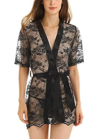 ADORNEVE Women Sexy Lingerie Sleepwear Robe Outfit Sheer Lace Bathrobe