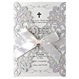 LORTAL 50X Lace Floral Hochzeitseinladungskarten Mit Silber Laser Cut Ribbon Bow für Brautdusche Engagement Geburtstag Abschluss (Set von 50 STÜCKE)