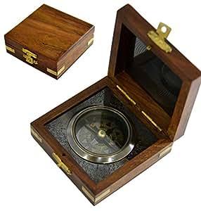 Boussole en laiton dans une boîte en bois-ANNO - 1404 boussole Vintage Décoration-Coffret compas magnétiques, compas de poche