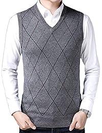 Liangzhu Hombre Sin Mangas Clásico Cuello En V Chaleco De Suéter Patrón De Rombo Color Sólido Suéter Chalecos