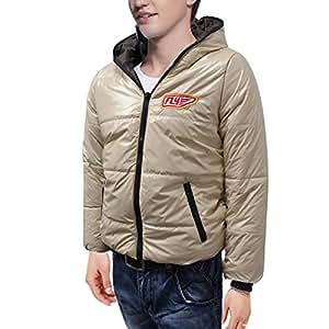 Chaud Full Zip Fermeture de manteau d'hiver matelassé de Allegra K Men