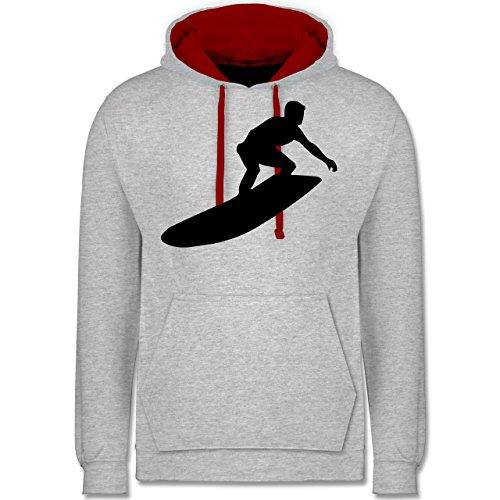 Wassersport - Surfer - Kontrast Hoodie Grau Meliert/Rot