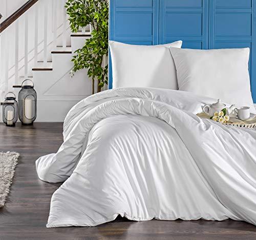 Melunda 3 TLG. Mako Satin Bettwäsche Set | Bettdeckenbezug 240x220 cm, mit 2 Kopfkissenbezüge 80x80 cm | Weiß | 3 teilig Bettgarnitur | Baumwolle Bettbezug mit Reißverschluss | Oeko-TEX®